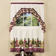 Chardonnay Printed Tier and Swag Window Curtain Set, BURGUNDY