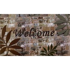 "Welcome Outdoor Rubber Entrance Mat 18"" x 30"", MULTI STONE BRICK"