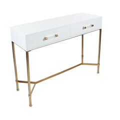 White Glam Metal Console Table, 31 x 47, WHITE