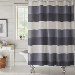 BH Studio Colorblock Waffle Shower Curtain, NAVY