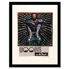 Marvin Gaye Woody's On The Beach - Blue / Red - 14x18 Framed Print, BLUE RED