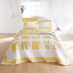 Dahlia Floral Reversible Bedspread, YELLOW