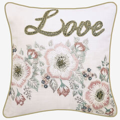 """Floral Beaded """"Love"""" Decorative Pillow, OYSTER PINK"""