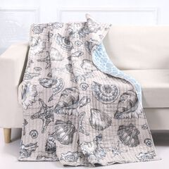 Barefoot Bungalow Cruz Quilted Throw Blanket, LINEN