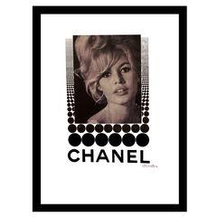 Chanel Brigitte Bardot - White / Black - 14x18 Framed Print, WHITE BLACK