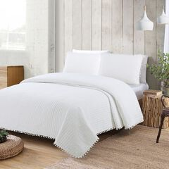 Estate Collection Costa Brava Quilt Set, WHITE