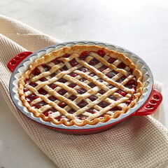 Cast Iron Pie Pan, RED