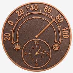 """14"""" Solstice Clock And Thermometer, ANTIQUE COPPER"""