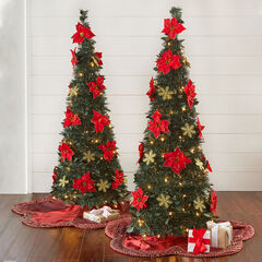 Fully Decorated Pre-Lit 4½' Pop-Up Christmas Tree, POINSETTIA