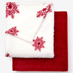 Fleece Blanket + Fleece Throw, CABERNET SNOWFLAKE