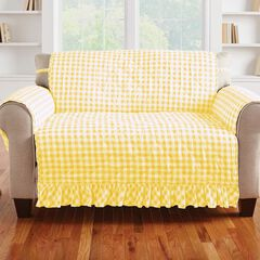 Gingham Ruffled Waterproof Microfiber Loveseat Protector, YELLOW WHITE