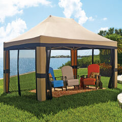 Oversized 10'x20' Instant Pop Up Gazebo with Screen, TAUPE