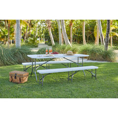 "Fold-In-Half Resin Table, 6' Long, 29¼""Hx30""Wx72""L, WHITE"