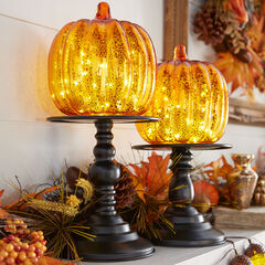 "14½"" Pre-Lit Glass Pumpkin on Metal Stand, ORANGE"