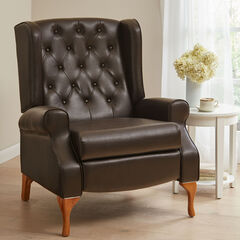 Oversized Queen Anne Style Tufted Wingback Recliner, DARK BROWN