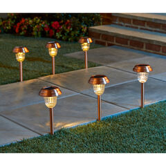 Set of 6 Copper Finish Solar Pathway Lights, COPPER