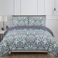 Provence Paisley Comforter Set, BLUE WHITE GREEN