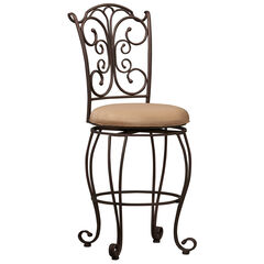 "Gathered Back Bar Stool, 30""H, POWDER"