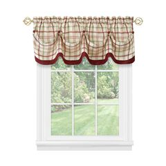Tattersall Tuck Valance with Buttons - 58x14, BURGUNDY