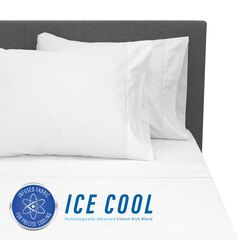 SensorPEDIC Ice Cool 400 Thread Count Cotton-Rich White Sheet Set, WHITE