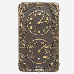 Acanthus Combo Clock And Thermomte, FRENCH BRONZE