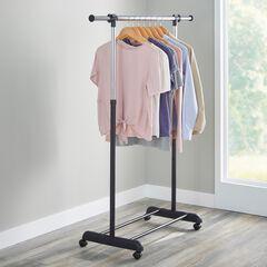 Portable Garment Rack with Extendable Bar, BLACK CHROME