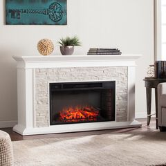 Canyon Heights Faux Stacked Stone Electric Fireplace, WHITE
