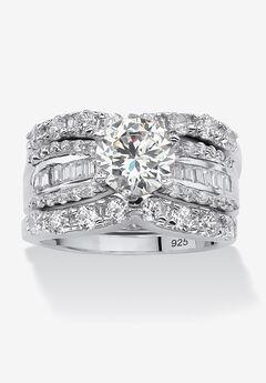 Platinum over Silver Bridal Ring Set Cubic Zirconia (5 5/8 cttw TDW),