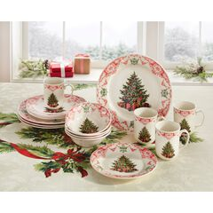 16-Pc. Christmas Tree Dinnerware Set, MULTI