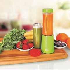 Euro Cuisine Portable Blender for Shakes and Smoothies - 150W Mini Mixx Personal Blender with 2-10oz Tritan Bottles - Small Smoothie Maker for Travel - BPA Free,