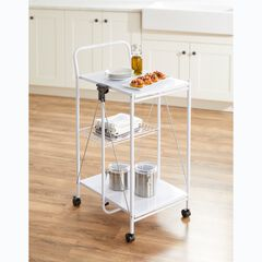 Multi-Purpose Foldable Rolling Cart, WHITE