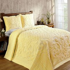 Ashton Collection Tufted Chenille Bedspread , YELLOW