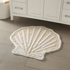 Shell Bath Mat, BEIGE WHITE
