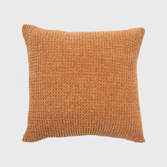 Shiny Waffle Chenille Knit Pillow, GINGER