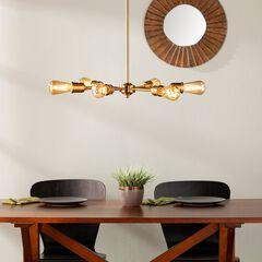 Yarrow 6-Light Spoke Pendant Lamp, BRASS