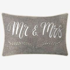 """Mr & Mrs"" Decorative Pillow, GREY"