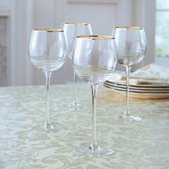 Set of 4 Gold Rim Wine Glasses, CLEAR