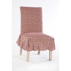 Roman Key Cotton Dining Chair Slipcover , RED WHITE