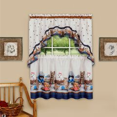 Precious Printed Tier and Swag Window Curtain Set, NAVY