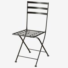 2 Black Metal Chairs, BLACK METAL