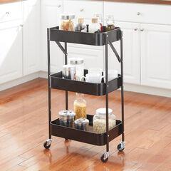 3-Tier Foldable Rolling Cart, BLACK