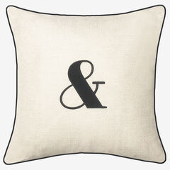 """Embroidered Appliqued """"&"""" Decorative Pillow, OYSTER BLACK"""