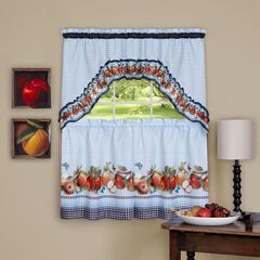 Golden Delicious Printed Tier & Swag Window Curtain Set, ICED BLUE