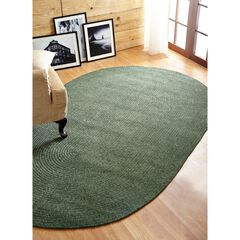 Better Trends Chenille Solid Braid Collection Reversible Indoor Area Utility Rug in Vibrant Colors, Oval, GREEN