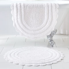 "24"" Round Crochet Bath Mat, WHITE"