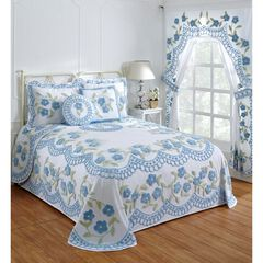 Bloomfield Collection in Floral Design Tufted Chenille Bedspread , BLUE