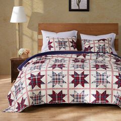 Greenland Home Fashions Liberty Quilt and Pillow Sham Set, RED CREAM BLUE