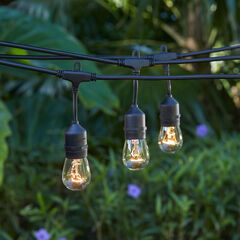 Edison-Style Industrial String Lights, BLACK