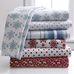 Cotton Flannel Print Sheet Set, CRANBERRY DOT