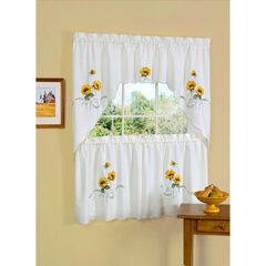 Sunshine Embellished Tier and Swag Window Curtain Set, YELLOW
